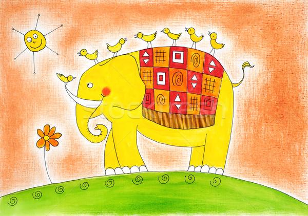 Photo stock: Heureux · éléphant · oiseaux · dessin · couleur · pour · aquarelle · peinture