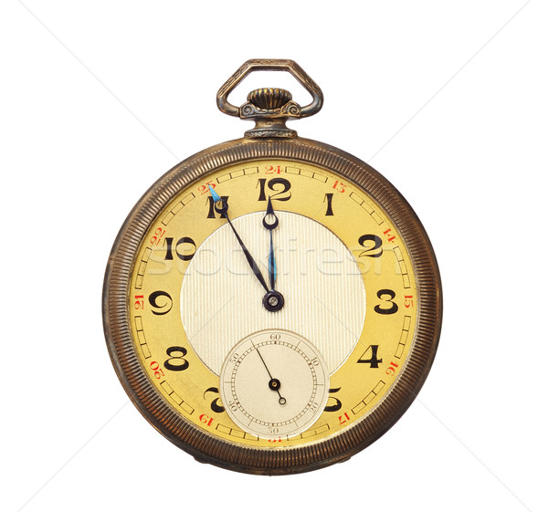 Old antique pocket watch isolated on white background. Clipping path included. Stock photo © brozova