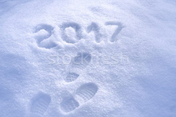 New Year 2017 greeting, footprints in snow, new year 2017, 2017 greeting card Stock photo © brozova