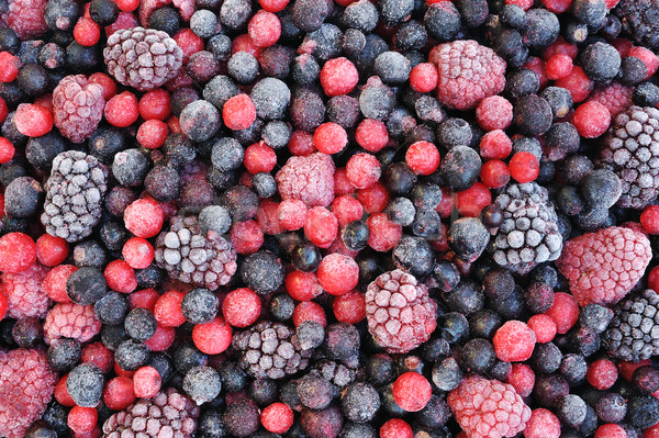 Close up of frozen mixed fruit  - berries - red currant, cranberry, raspberry, blackberry, bilberry, Stock photo © brozova