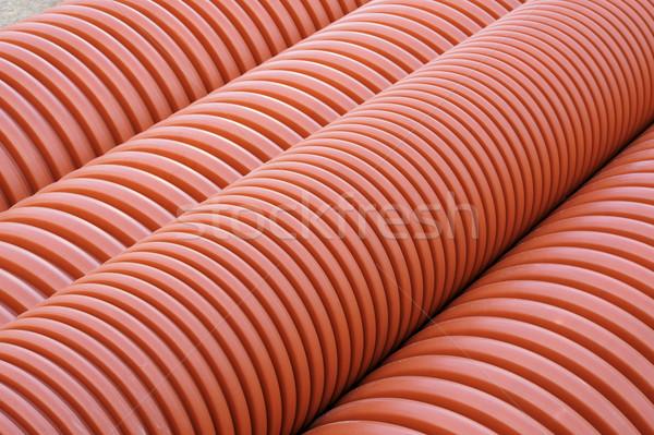 Plastic drainage pipes stacked - sewage conduit Stock photo © brozova