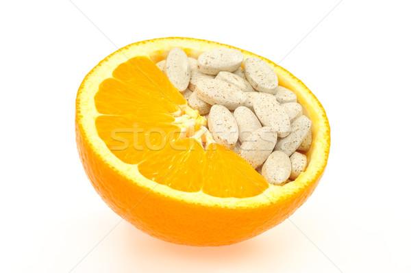 Zdjęcia stock: Pomarańczowy · pigułki · odizolowany · witamina · tekstury