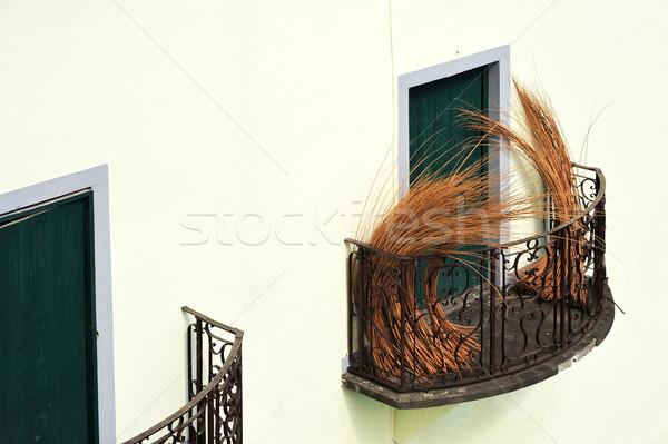 Erkély régi ház Madeira csomag fonott ház Stock fotó © brozova