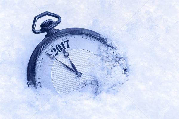 Montre de poche neige nouvelle année carte de vœux heureux nature Photo stock © brozova