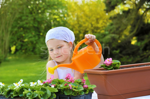 Young girl watering flowers Stock photo © brozova