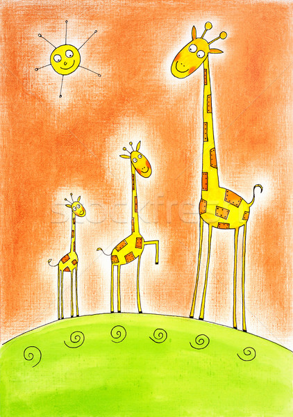 Three happy giraffes, child's drawing, watercolor painting on paper Stock photo © brozova