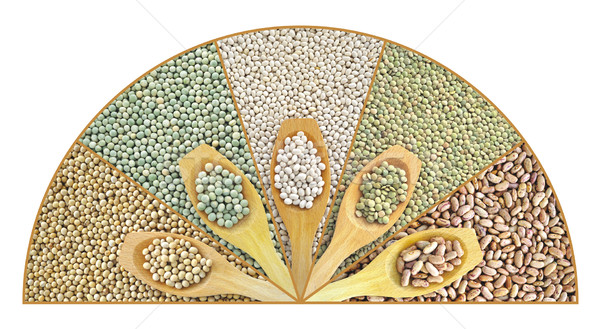 Collage of dried lentils, peas, soybeans, beans with wooden spoon Stock photo © brozova