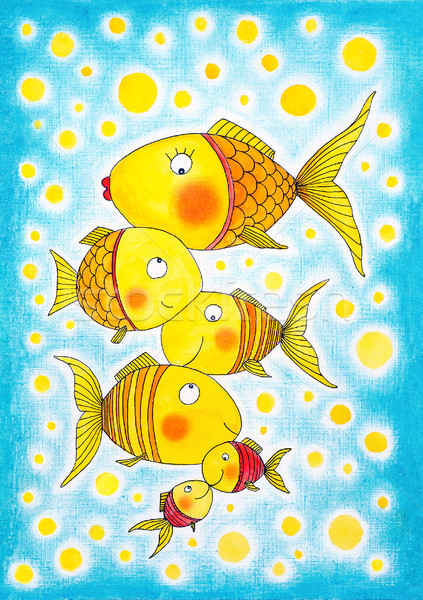 Group of gold fish, child's drawing, watercolor painting on paper Stock photo © brozova