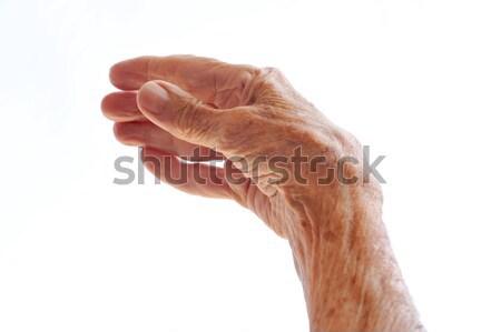 Idős kéz izolált fehér nő kezek Stock fotó © brozova
