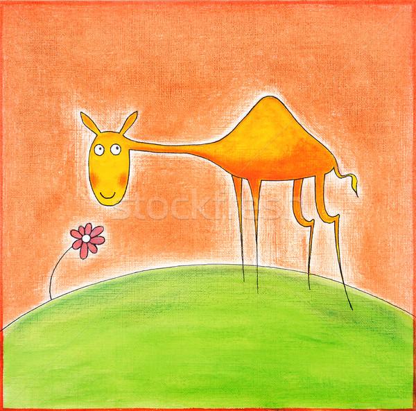 Сток-фото: счастливым · молодые · верблюда · рисунок · акварель · Живопись