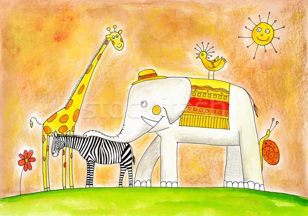 Photo stock: Groupe · animaux · dessin · couleur · pour · aquarelle · peinture · papier