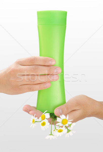 Hands of young woman holding cosmetics bottle and fresh chamomile Stock photo © brozova