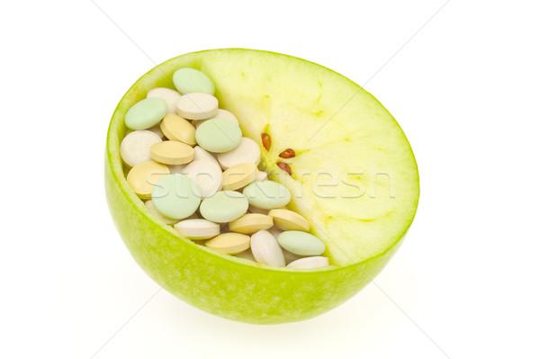 Сток-фото: яблоко · таблетки · изолированный · витамин · текстуры