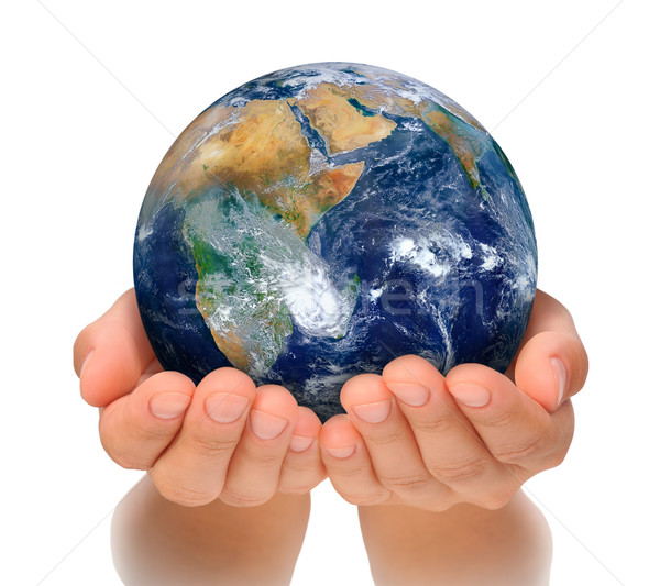 Hands of woman holding globe, Africa and Near East Stock photo © brozova