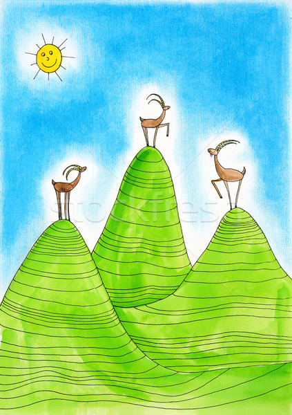Three  Alpine ibexes, child's drawing, watercolor painting on paper Stock photo © brozova