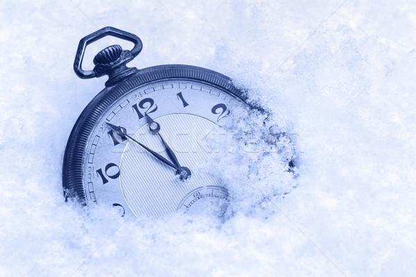 Pocket watch in snow, Happy New Year greeting card Stock photo © brozova