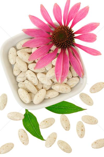 Pilules médecine alternative fleur feuille vert médecine Photo stock © brozova