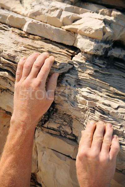 Rock climber, detail of hands Stock photo © brozova