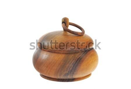Old wooden sugar bowl  isolated on white Stock photo © brozova