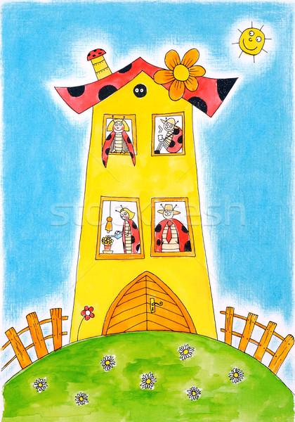 Lieveheersbeestje kever familie tekening aquarel schilderij Stockfoto © brozova