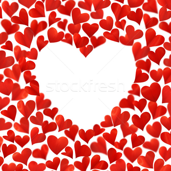 Background with red hearts in 3D, empty space for text in heart shape, isolated on white background Stock photo © brozova