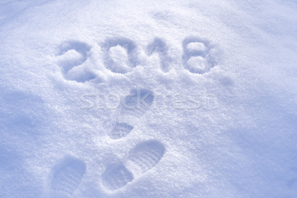 New Year 2018 greeting, footprints in snow, new year 2018, greeting card Stock photo © brozova