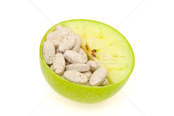 Zdjęcia stock: Jabłko · pigułki · odizolowany · witamina · tekstury