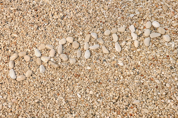 Croatia word made of pebbles, authentic picture of Hvar's beach Stock photo © brozova