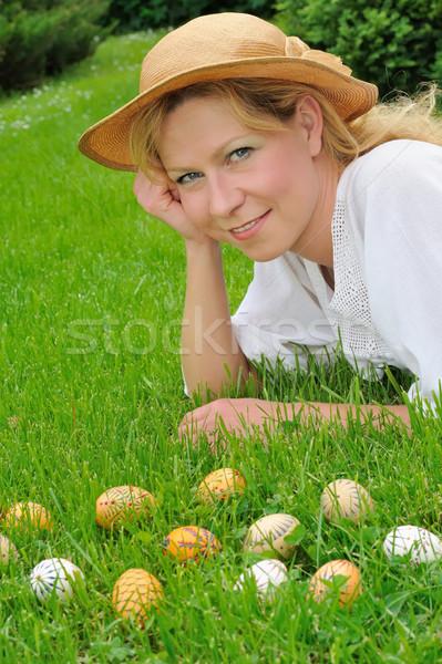Easter eggs erba Pasqua tempo donna Foto d'archivio © brozova