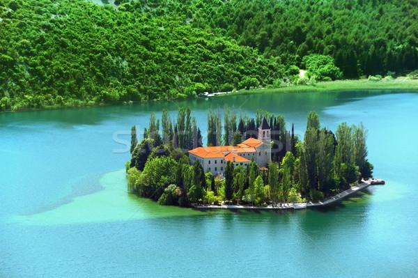 クリスチャン 修道院 クロアチア 家 ツリー 夏 ストックフォト © brozova