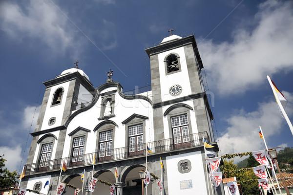 Kilise madeira Portekiz gökyüzü duvar doğa Stok fotoğraf © brozova