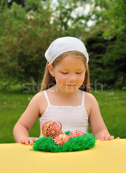 Bambina Pasqua tempo primavera felice Foto d'archivio © brozova
