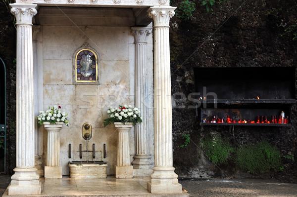 ストックフォト: 噴水 · 処女 · マデイラ · ポルトガル · 花 · 壁