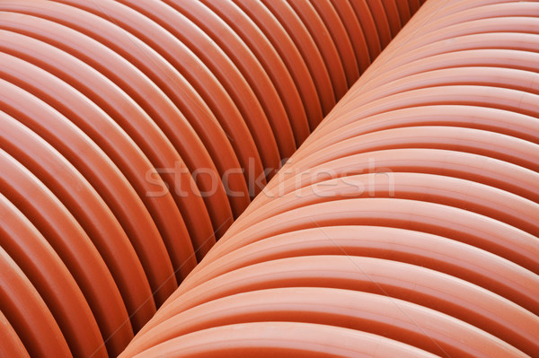 Plastic drainage pipes stacked - sewage conduit Stock photo © brozova