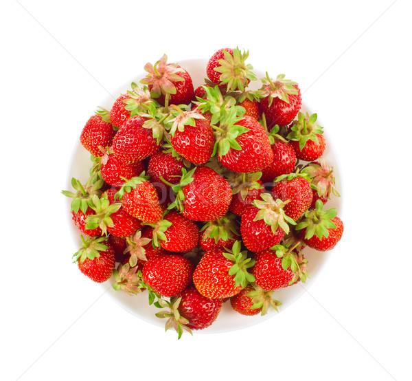 Organique fraise feuilles vertes fleur isolé Photo stock © brulove