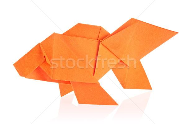 Oranje vis origami geïsoleerd witte achtergrond Stockfoto © brulove