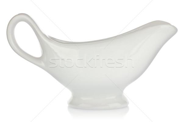 Biały porcelana sos krem odizolowany Zdjęcia stock © brulove