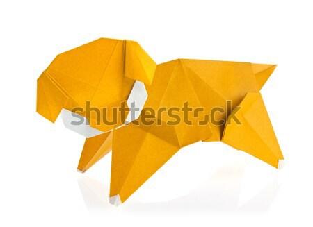 Orange elephant of origami. Stock photo © brulove