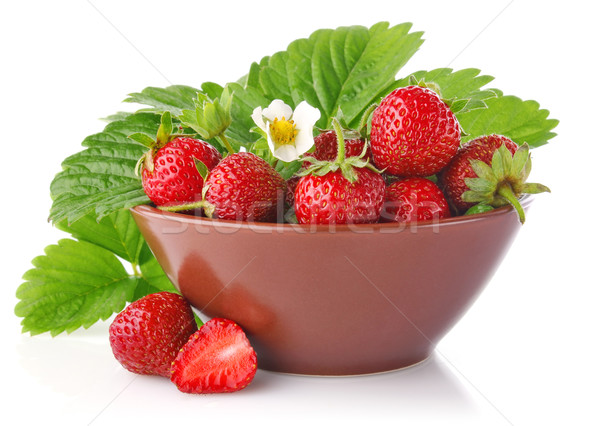 ripe strawberry in tureen with green leaves Stock photo © brulove