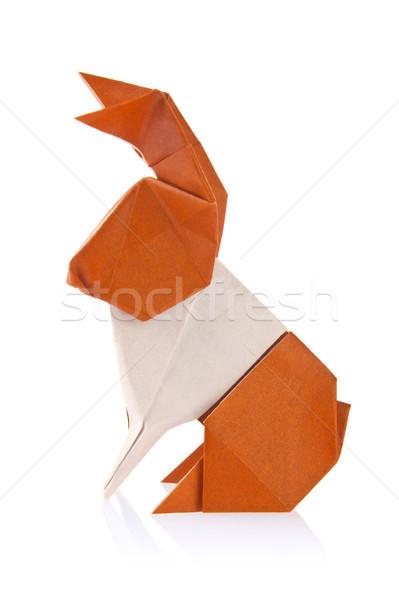 Kahverengi easter bunny origami yalıtılmış beyaz arka plan Stok fotoğraf © brulove