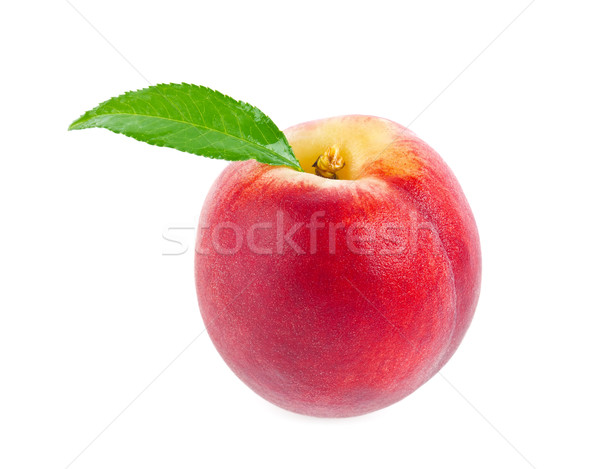 Ripe juicy peach with green leaf Stock photo © brulove