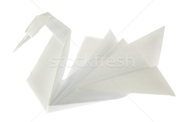 лебедя оригами изолированный белый фон Сток-фото © brulove