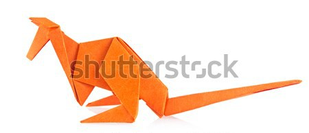 Stock photo: Orange kangaroo of origami.