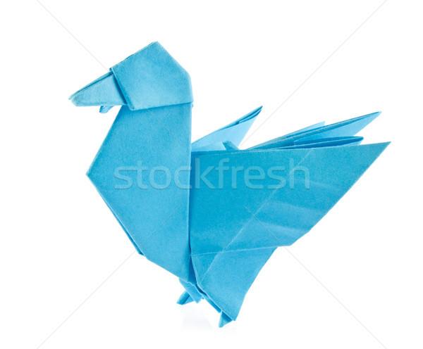 Blu anatra origami isolato bianco Foto d'archivio © brulove