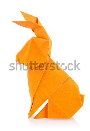 Turuncu köpek origami yalıtılmış beyaz arka plan Stok fotoğraf © brulove