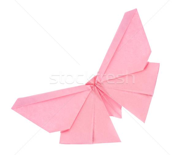 Rózsaszín pillangó origami izolált fehér művészet Stock fotó © brulove