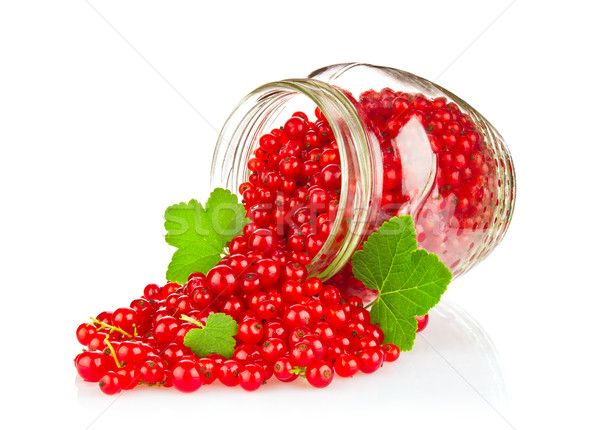 Fresh Red Currant with Green Leaf in glass jar Stock photo © brulove