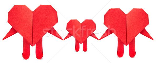 Family of red heart origami. Stock photo © brulove