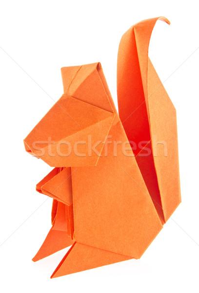 Turuncu sincap origami yalıtılmış beyaz kâğıt Stok fotoğraf © brulove