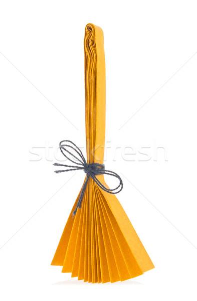 оранжевый метлой оригами изолированный белый фон Сток-фото © brulove